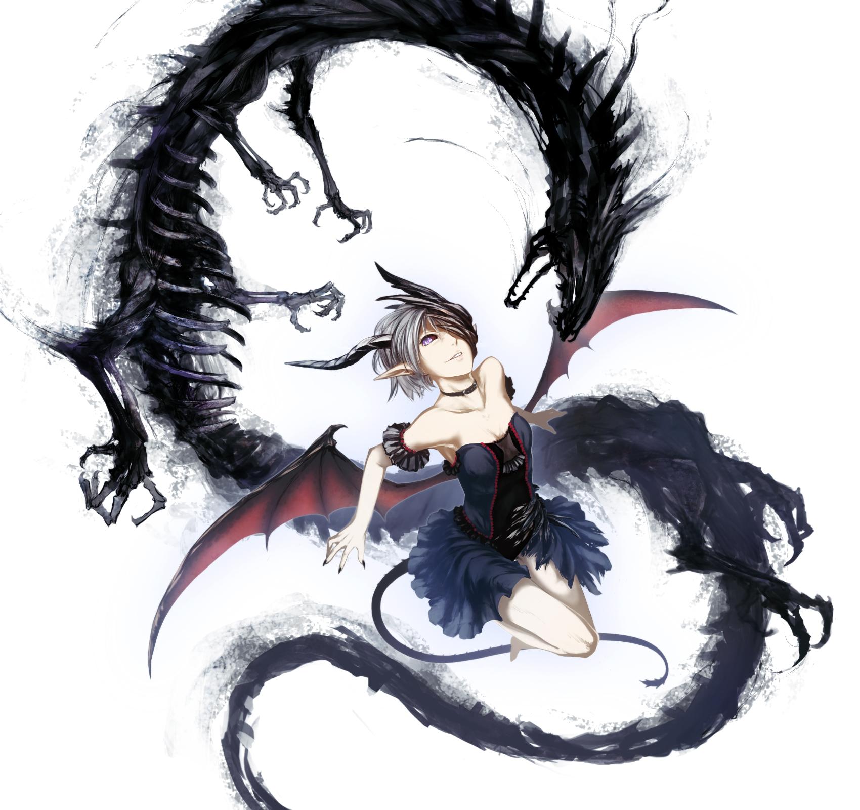 dragon horns Anime girl with