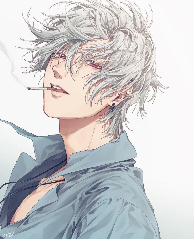 haired shirt White anime boy