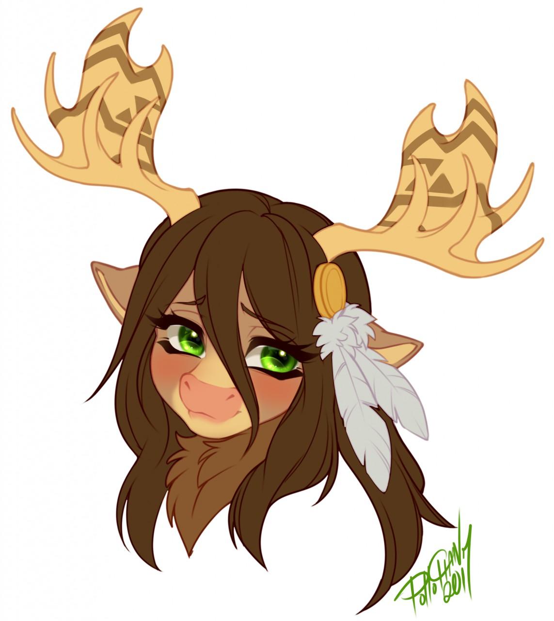 deer antlers girl with Anime