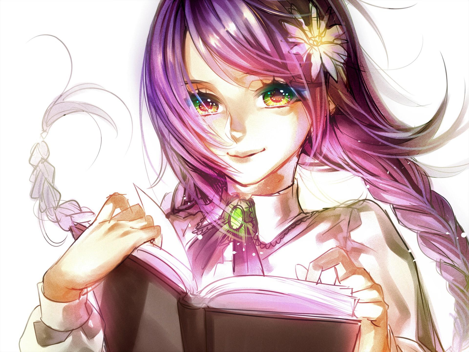 eyes green Anime pink hair girl