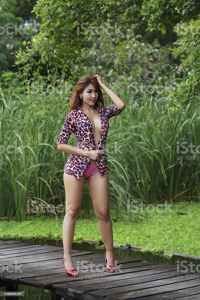 Uncut outdoor blonde asian