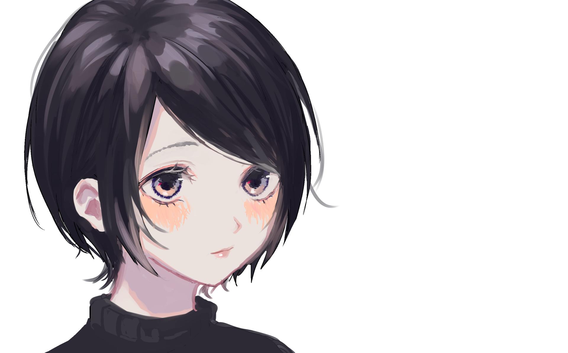 Anime girl grey eyes