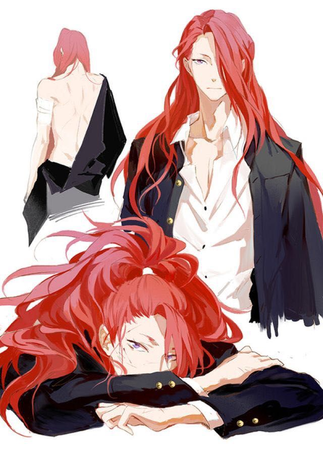 anime Red guy haired