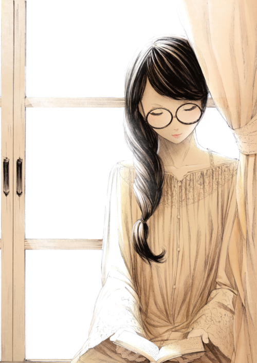 anime glasses with Shy girl