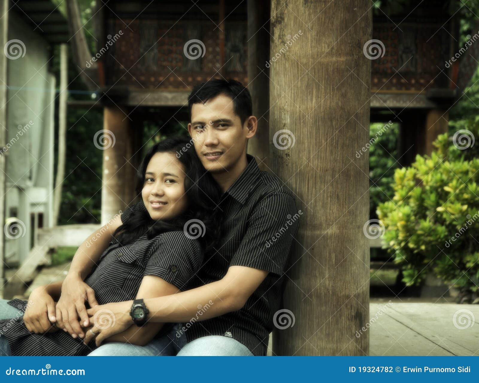 Virgin asian couple outdoor