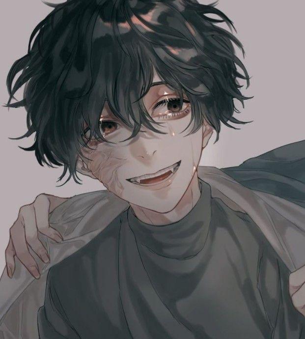 anime guy hair Black