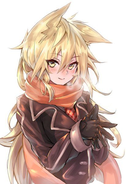 girl yellow hair eyes blonde Anime