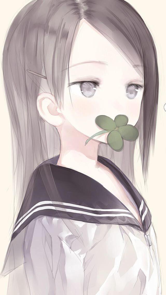 girl eyes Anime grey