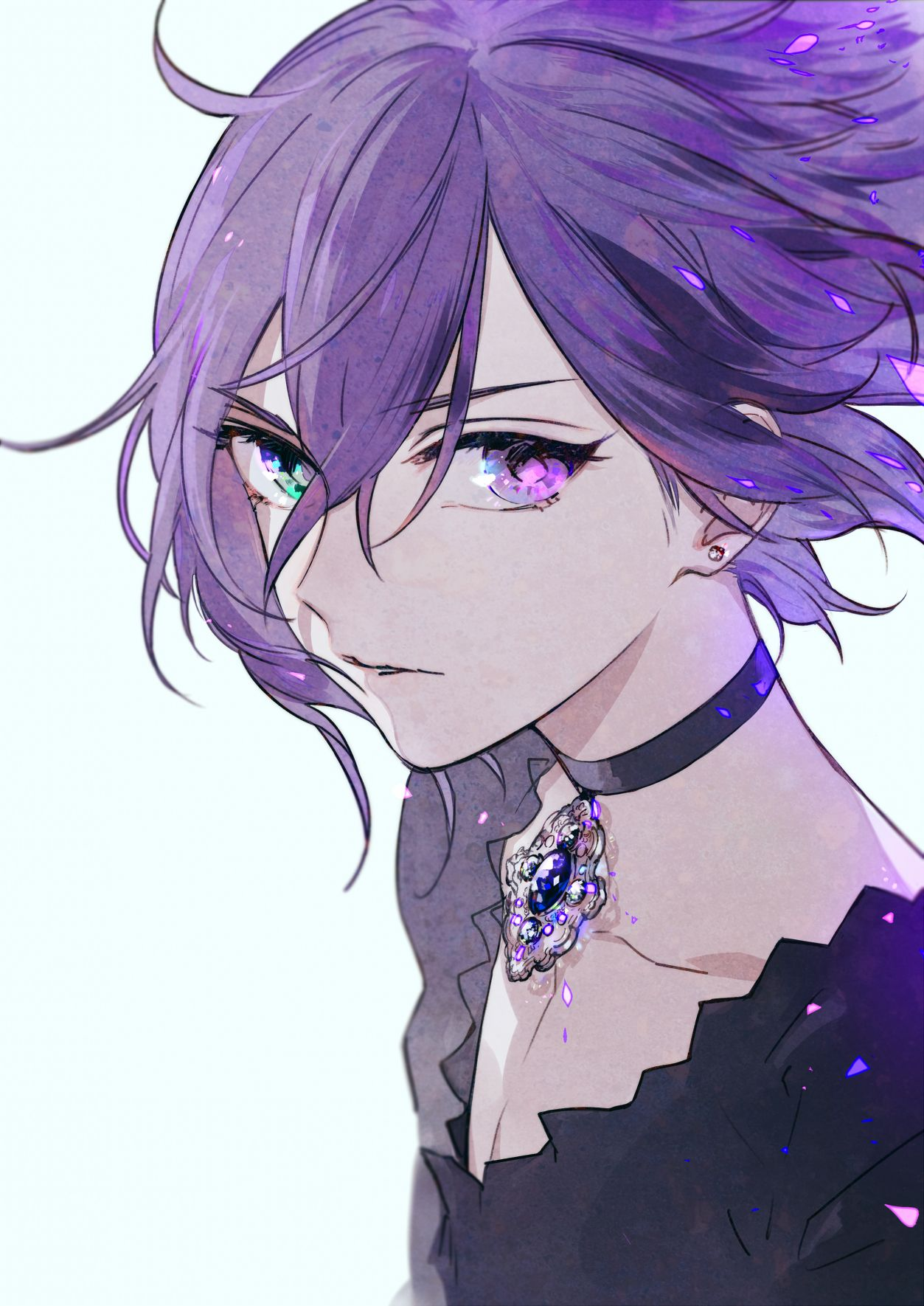 purple Anime girl hair with blue and