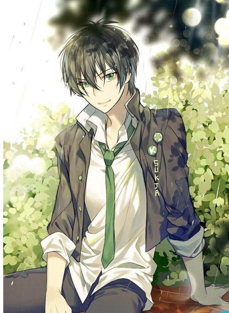 eyes hair Anime red guy green