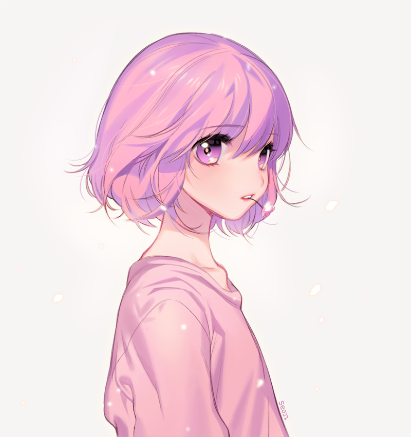 girl pink anime hair with Cute