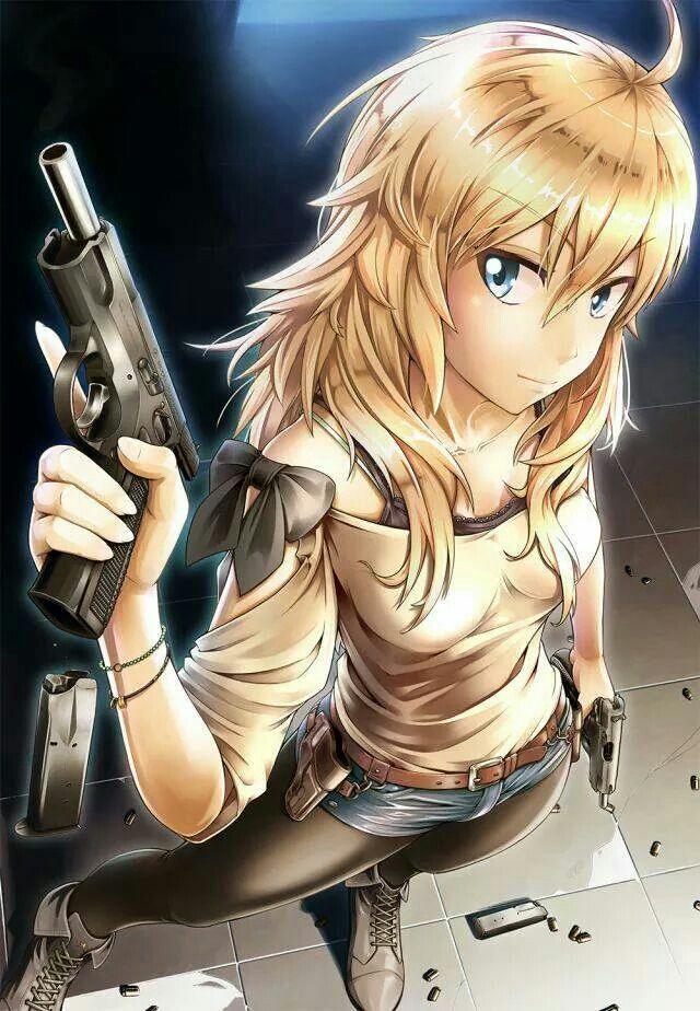 gun girl Blonde anime with